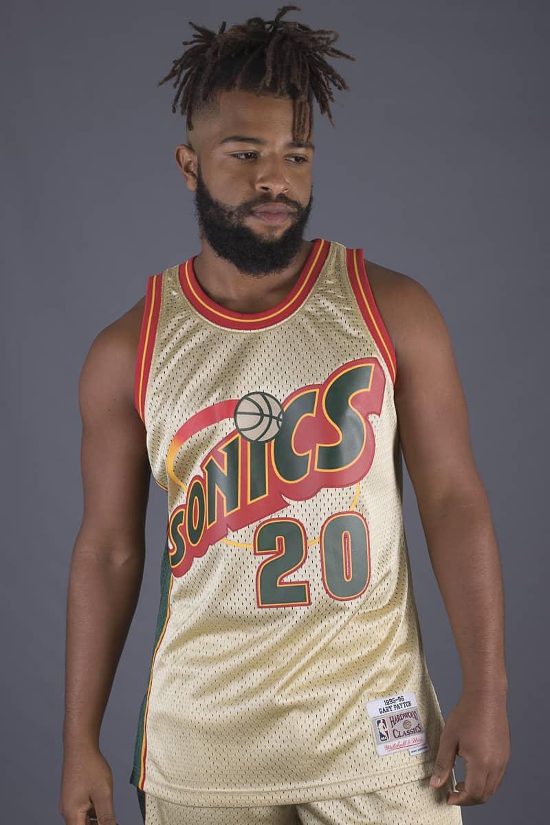 Camiseta Gary Payton Golden Mitchell Ness baloncesto Sonics