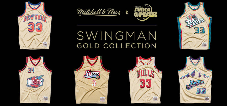 Camisetas NBA retro harwood classics de Mitchell and Ness collection Gold