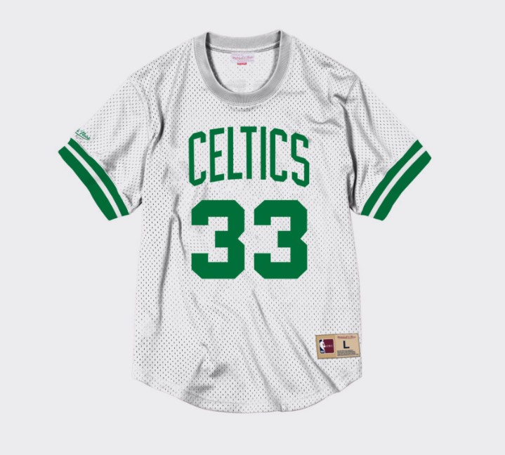 camiseta mesh de larry bird de mitchell and ness